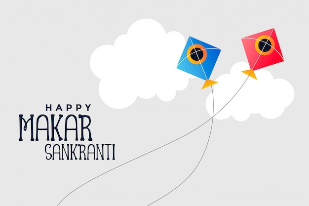 Kites flying in sky makar sankranti festival