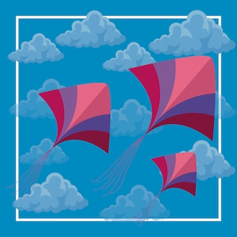 Kites flying in the sky