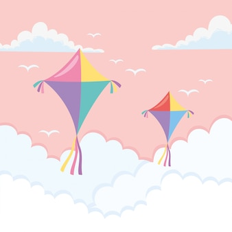 Kites flying through the clouds
