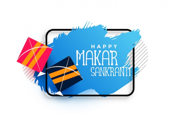 Kites makar sankranti background with blue brush watercolor stroke