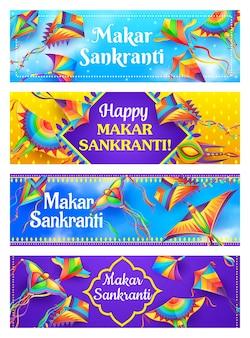 Kites of makar sankranti banners