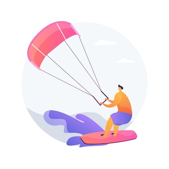 Kitesurfing abstract concept vector illustration. kiteboarding, parachute water sport, flying adventure, wind speed, extreme fun, action camera, freestyle trick, freedom abstract metaphor.