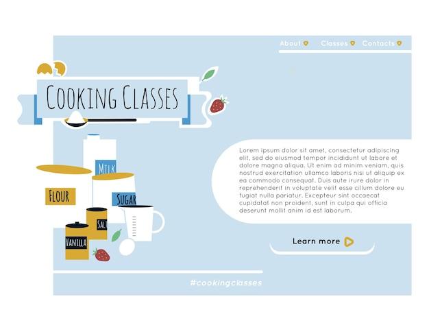Инструменты и ингредиенты для кулинарии для приготовления торта элементы дизайна веб-сайта кулинарии или вспомогательного класса