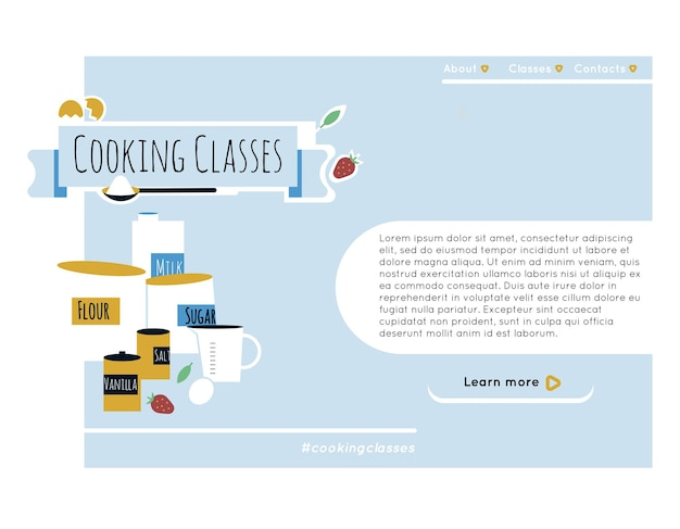 Kithcen tools and ingredients for backing cake cooking or backing class website design elements