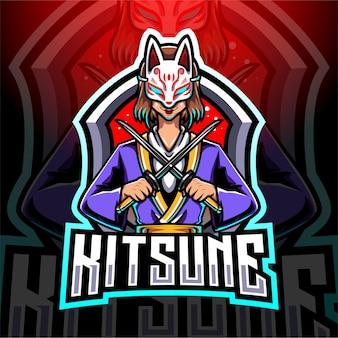 Кицунэ девушка киберспорт талисман дизайн логотипа