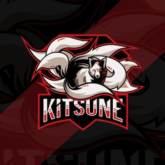 Кицунэ талисман логотип кибер дизайн шаблона