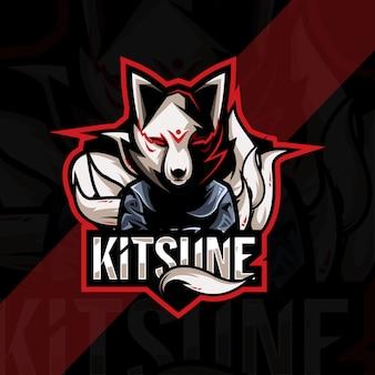 Кицунэ талисман логотип киберспорт дизайн шаблона