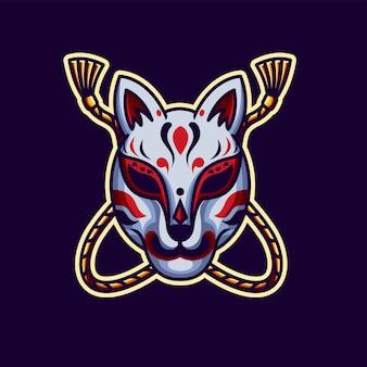 Kitsune mask, tatto design and illustration