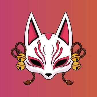 Kitsune mask vector illustration on isolated object