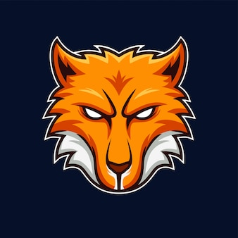 Kitsune orange japanese fox head mascot gaming team logo