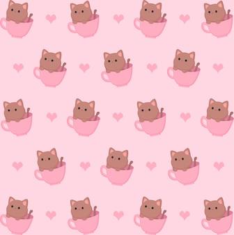 Kitten in cup pattern