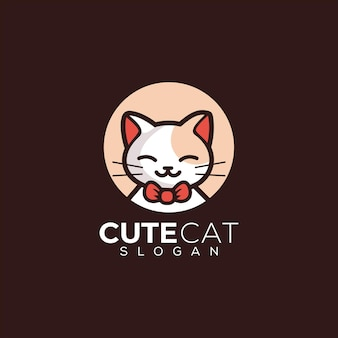 Kitten cute cat logo