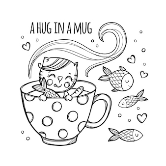 Kitten and fish cute kitten caught fish in cup with hot drink holiday cartoon monochrome hand drawn