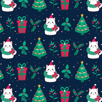 Kitten funny christmas pattern