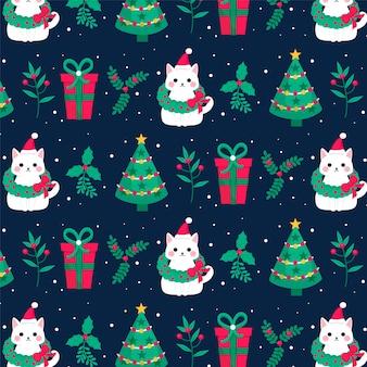 새끼 고양이 재미 있은 크리스마스 패턴