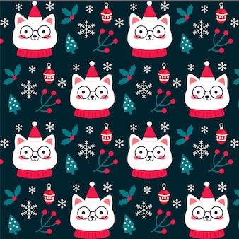 Котенок смешной рождественский узор