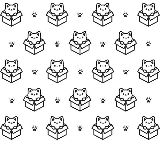 Котенок в коробке серого узора