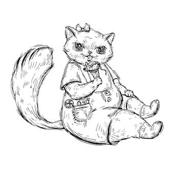子猫はオーバーオールに座って、ネズミの形のアイスクリームを食べています。白い背景で隔離のヴィンテージモノクロベクトルハッチングイラスト。 tシャツの手描きのデザイン要素