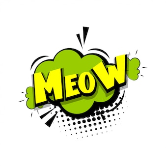 Kitten meow comic text pop art style quotation