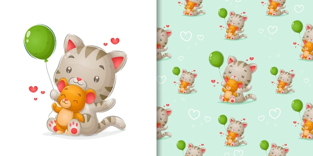 Kitten and mouse playing with green balloon in pattern illustration