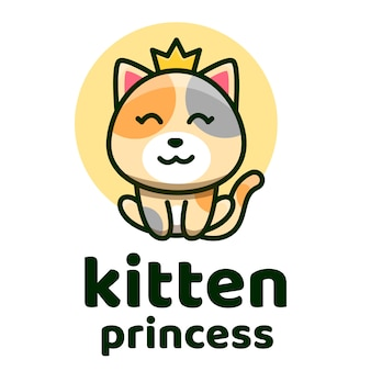 Kitten princess cute logo template