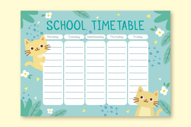 Kitten timetable back to school concept