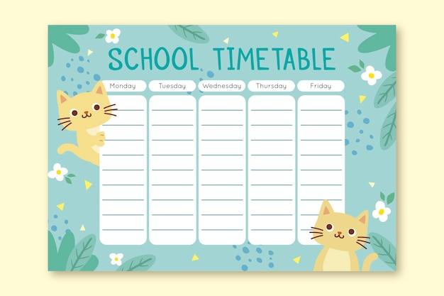 Расписание котенка обратно в школу концепции
