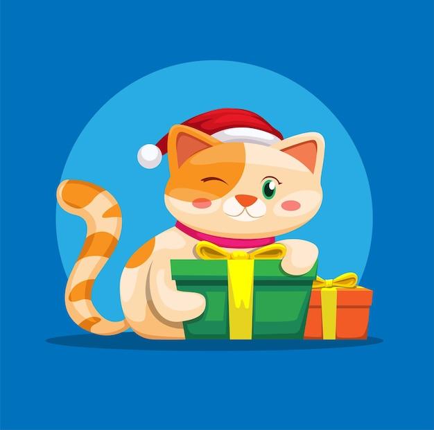 Котенок с рождественским подарком животное милый сезонный вектор иллюстрации
