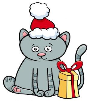 クリスマスの時間に贈り物をする子猫