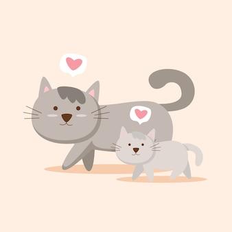 겨울에 새끼 고양이와 그들의 어머니