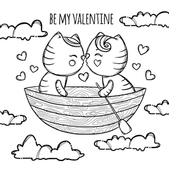 Kittens in boat kiss floating in the clouds. valentine's day cartoon hand drawn monochrome clip art