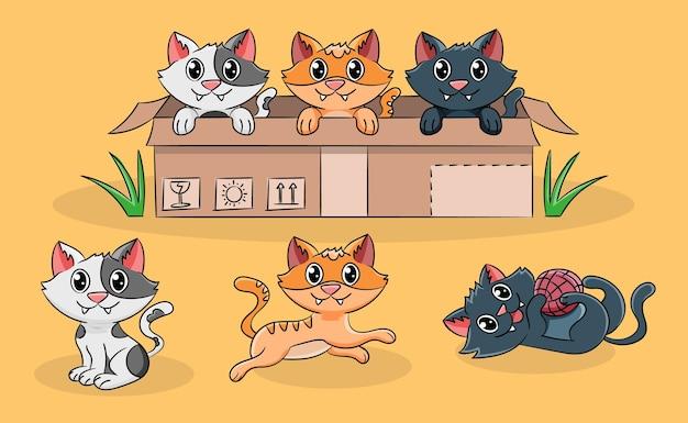 Kittens doing activities illustration
