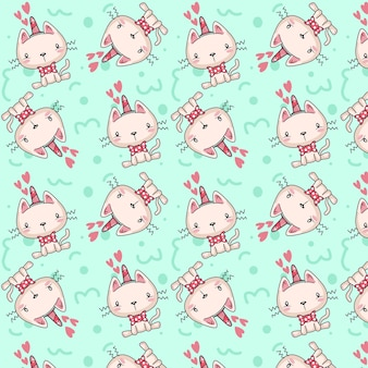 Kittens pattern with unicorn horn