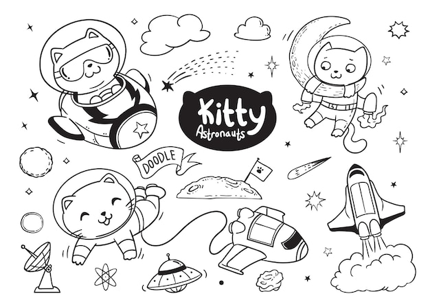 Kitty astronauts doodle for kids