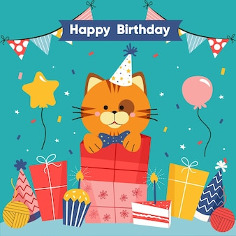 Kitty birthday illustration with gifts and balloons