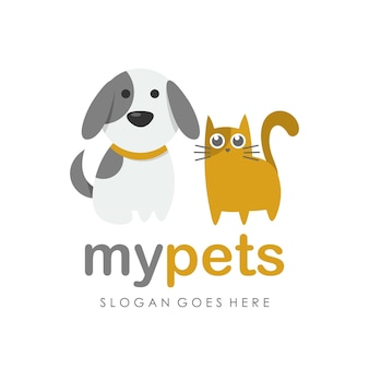 Kitty cat, dog and pet shop logo