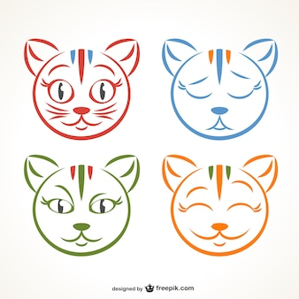 Disegno espressioni gattino vettore