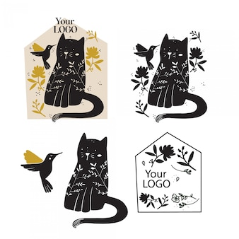 Kitty logo set hand drawn