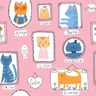 Kitty seamless pattern. cat pet portraits in simple hand drawn scandinavian cartoon childish style. colorful cute doodle animals in frames on a pink background with nicknames.