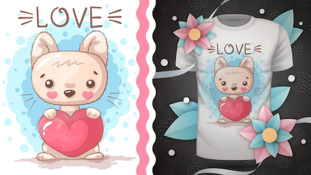 Kitty with heart idea for print t-shirt