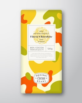 Kiwano chocolate label abstract shapes vector packaging design layout with realistic shadows modern ...