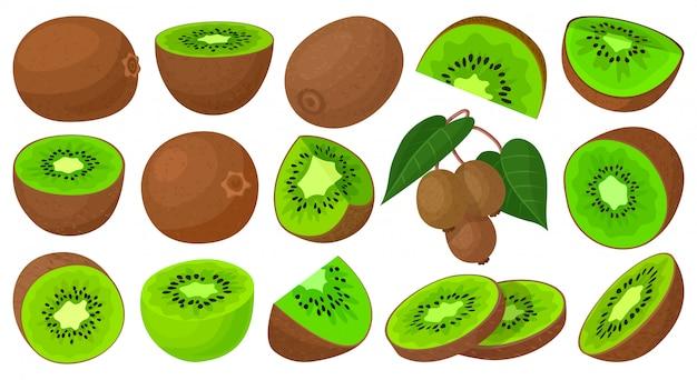 Киви мультфильм установить значок. иллюстрация фрукты на белом фоне. мультфильм установить значок киви.