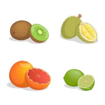 Kiwi, durian, grapefruit, and lime