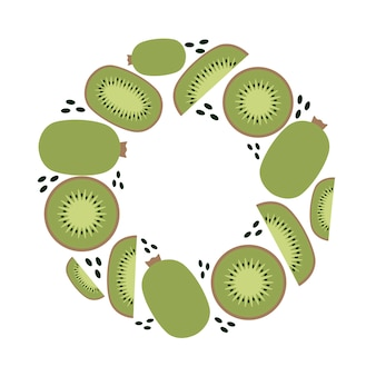 Kiwi frame, keto and vegan diet, trendy plant, vector in flat style.