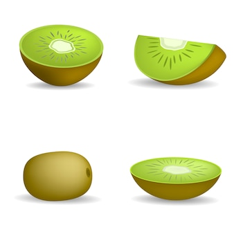 Kiwi fruit food slice icons set. realistic illustration of 4 kiwi fruit food slice vector icons for web