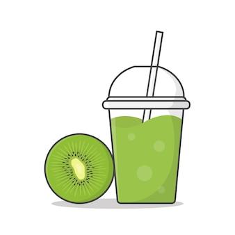 테이크 아웃 플라스틱 컵에 키위 과일 주스 또는 밀크 쉐이크. 얼음 편평한 플라스틱 컵에있는 차가운 음료