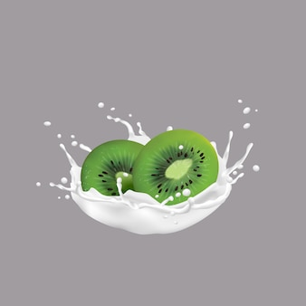 Kiwi fruit and milk splash, 3d style