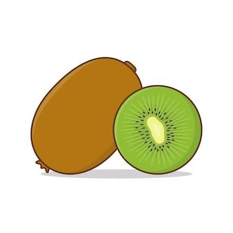 Kiwi fruit and slices of kiwi   icon illustration.