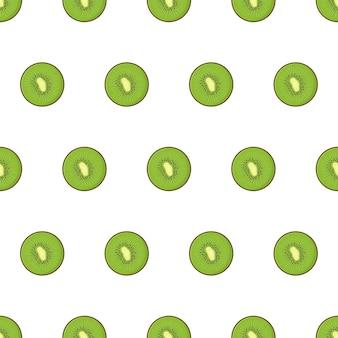 Kiwi fruit and slices of kiwi seamless pattern