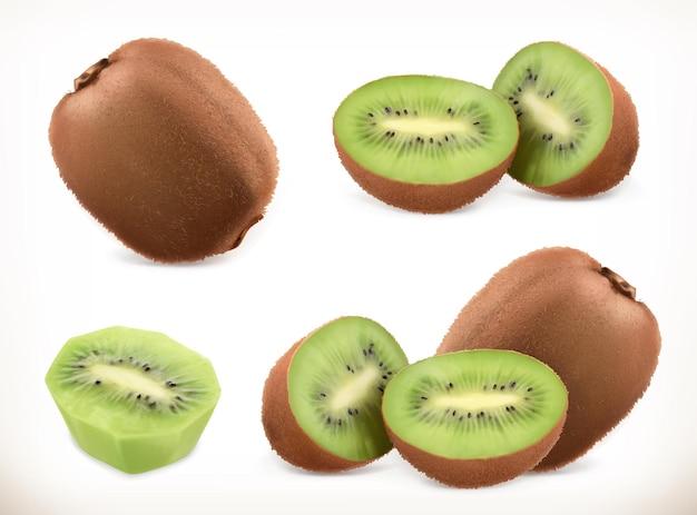 キウイフルーツ全体と断片。
